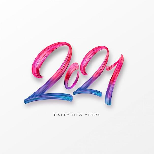 Kleurrijke penseelstreek verf belettering kalligrafie van happy new year achtergrond. illustratie Premium Vector