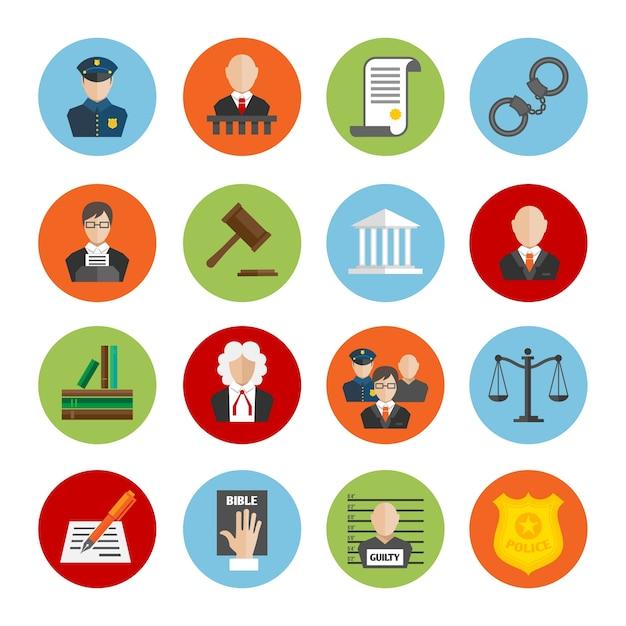 Kleurrijke pictogrammen gerechtigheid Gratis Vector