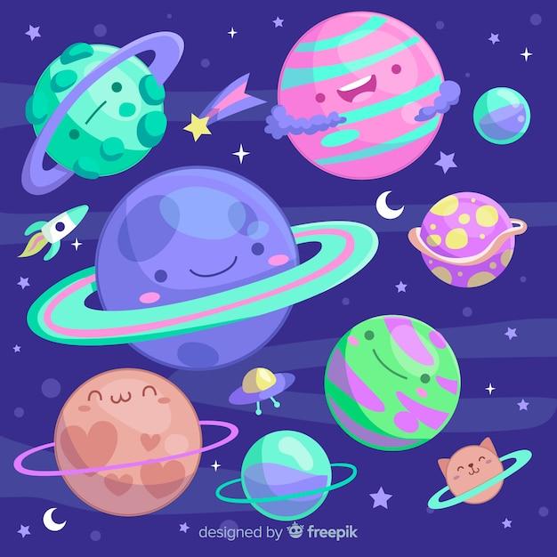 Kleurrijke planeten uit de collectie van het zonnestelsel Gratis Vector