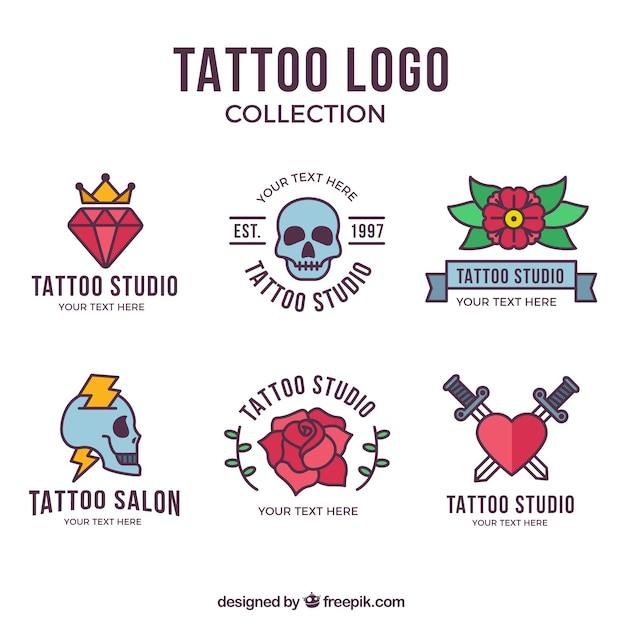 Kleurrijke platontwerp tattoo logo collectie Gratis Vector