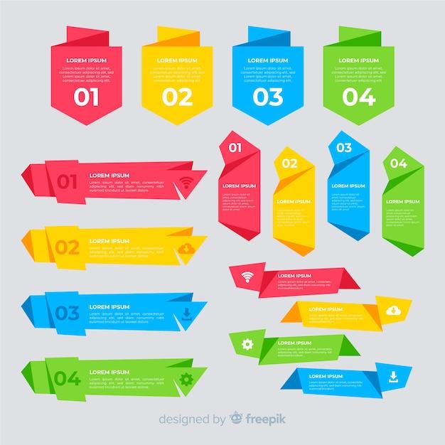 Kleurrijke platte infographic element collectie Gratis Vector