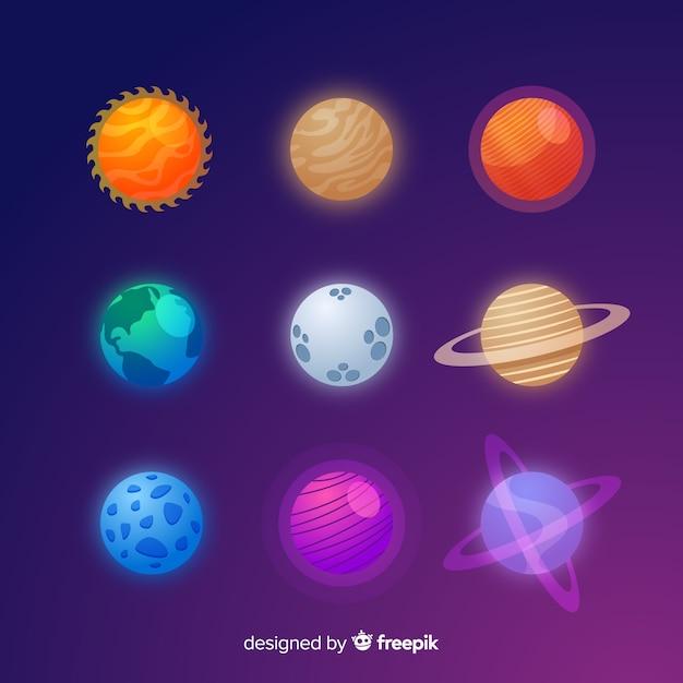 Kleurrijke platte ontwerp planeet batch Gratis Vector