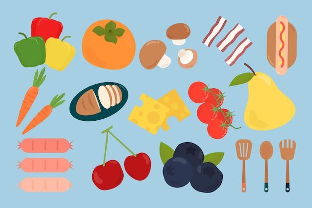 Kleurrijke platte voedselset Gratis Vector