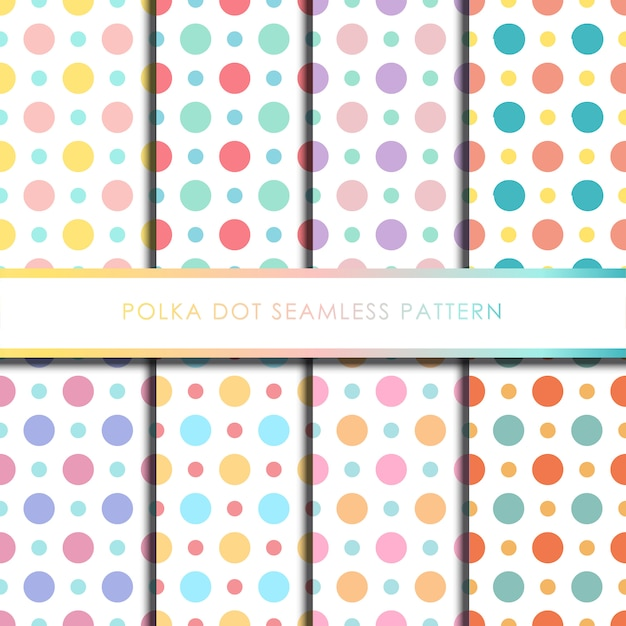 Kleurrijke polka dot naadloze patroon ingesteld Premium Vector