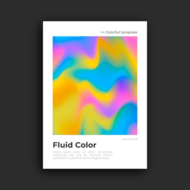 Kleurrijke poster met vloeibaar effect Gratis Vector