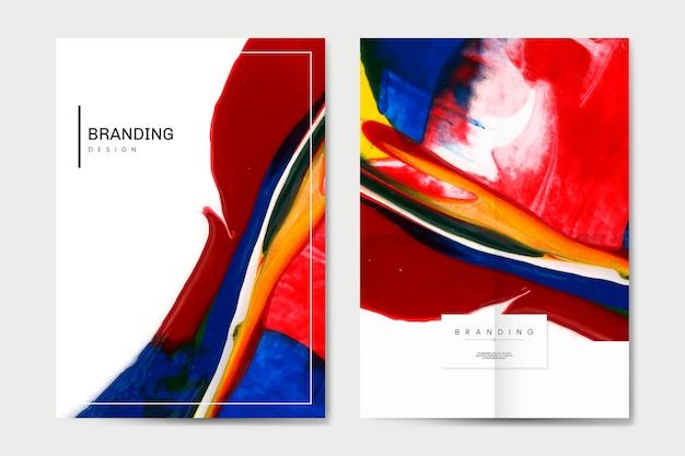 Kleurrijke poster set Gratis Vector