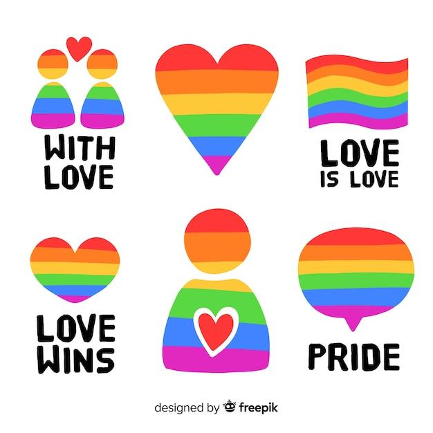 Kleurrijke pride-dag labels-collectie Gratis Vector
