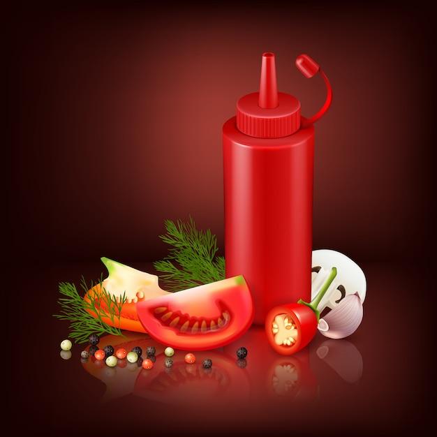 Kleurrijke realistische achtergrond met rode plastic fles Gratis Vector