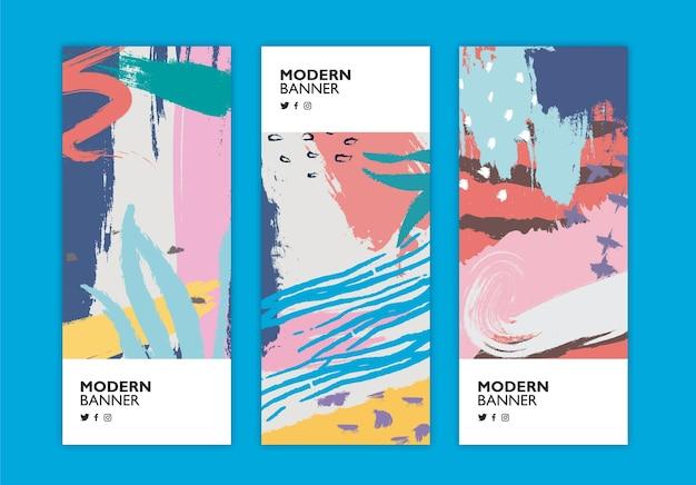 Kleurrijke reeks banners in de stijl van memphis Gratis Vector