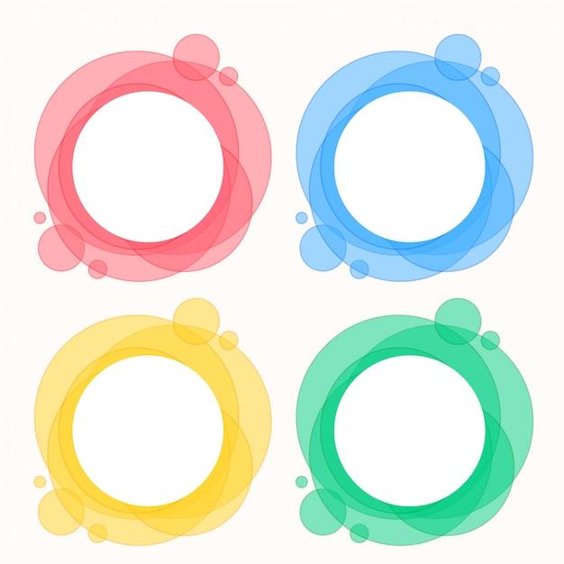 Kleurrijke reeks cirkel om kaders Gratis Vector