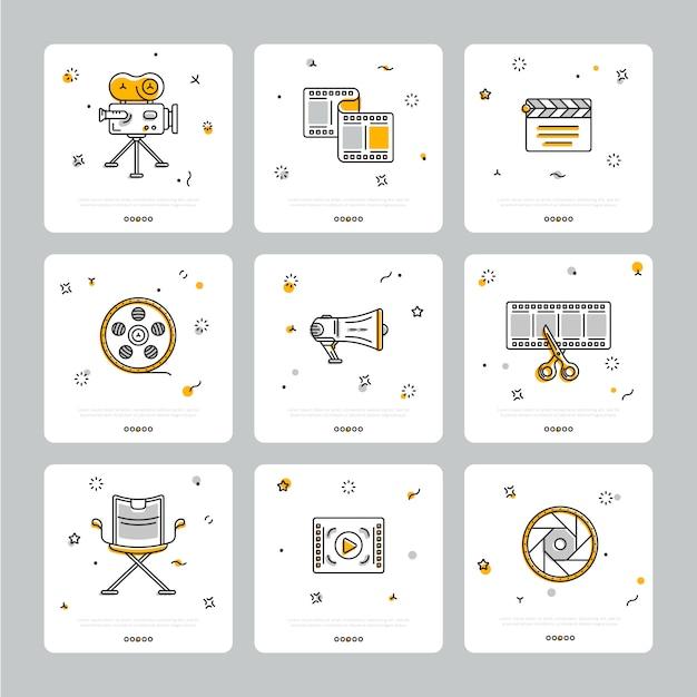 Kleurrijke reeks filmische pictogrammen op grijs Premium Vector