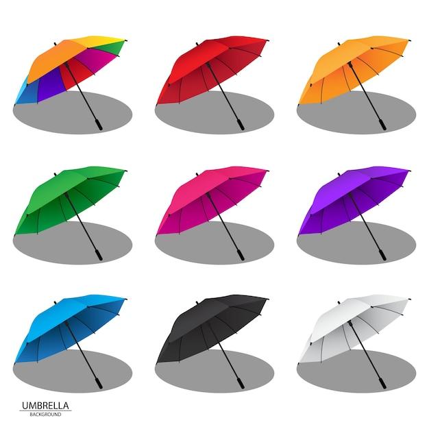 Kleurrijke regen paraplu ontwerp vectorillustraties Premium Vector