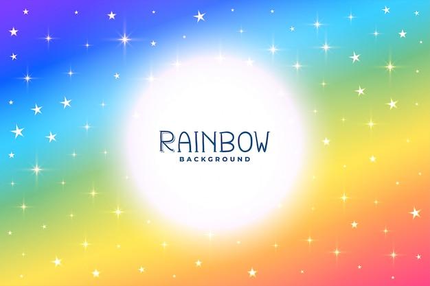 Kleurrijke regenboogachtergrond met sterren en fonkelingen Gratis Vector