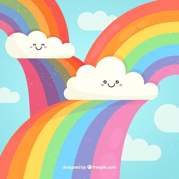 Kleurrijke regenboogachtergrond Gratis Vector