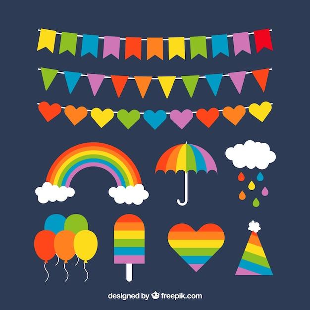 Kleurrijke regenboogreeks Gratis Vector