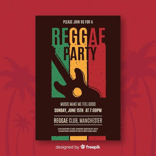 Kleurrijke reggae partij poster met platte ontwerp Gratis Vector