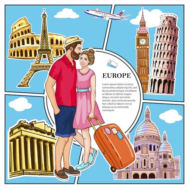 Kleurrijke reis naar europa compositie met verliefde paar vliegende vliegtuig en beroemde attracties van rome athene londen parijs vaticaanse steden Gratis Vector