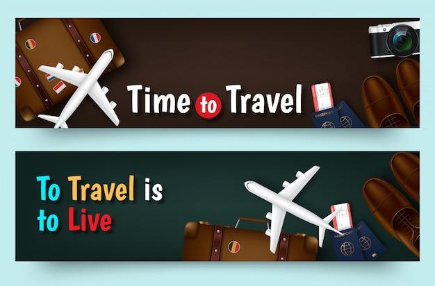 Kleurrijke reis vector platte banner ingesteld voor uw bedrijf Premium Vector