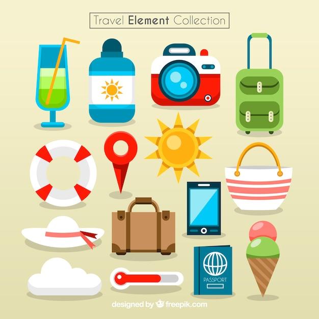 Kleurrijke reiselementen collectie Gratis Vector