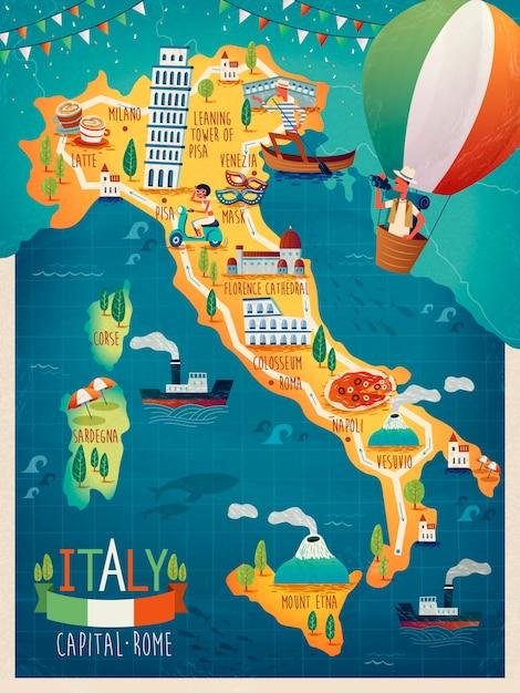 Kleurrijke reiskaart van italië met attractie symbolen, italiaanse woorden voor venetië, de vesuvius, milaan, napels, sardinië, rome en franse woorden voor corsica over de hele foto Premium Vector