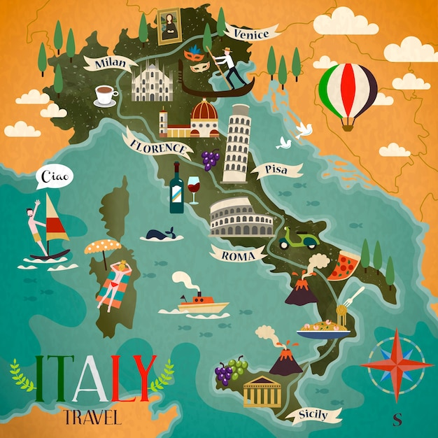 Kleurrijke reiskaart van italië met attractie symbolen, kompas teken en italiaanse woorden voor hallo aan de linkerkant Premium Vector