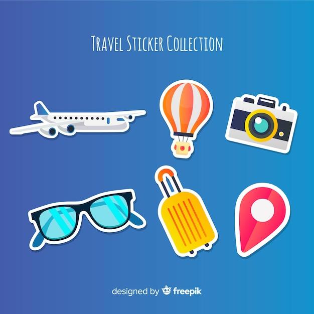 Kleurrijke reizen sticker set Gratis Vector