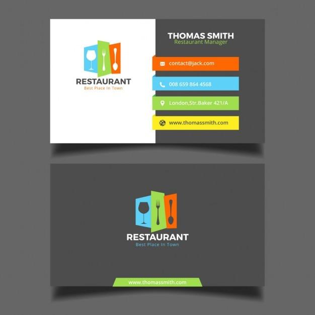 Kleurrijke restaurant adreskaartje Gratis Vector