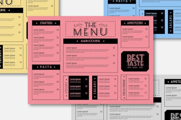 Kleurrijke restaurant menusjabloon Gratis Vector