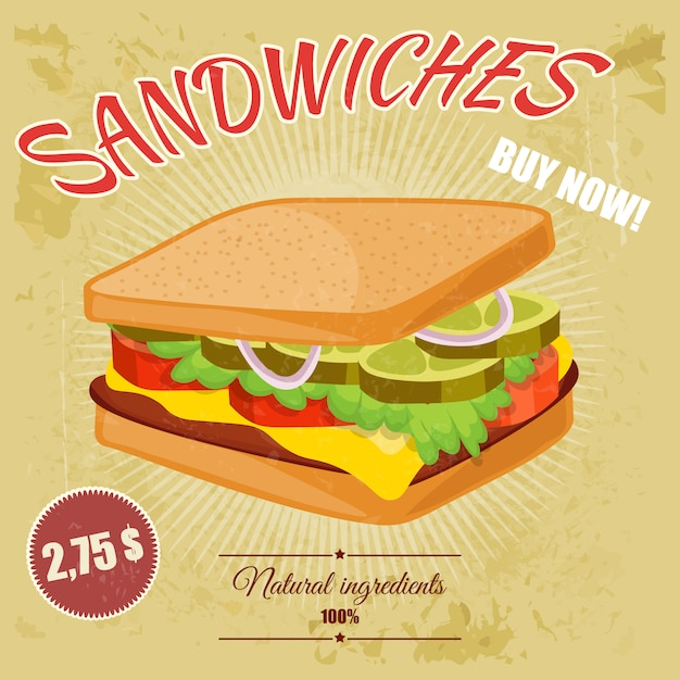 Kleurrijke retro cartoon poster van fast food. Premium Vector