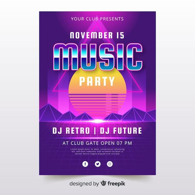 Kleurrijke retro futuristische muziek poster sjabloon Gratis Vector