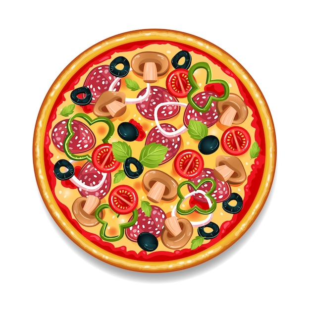 Kleurrijke ronde smakelijke pizza Gratis Vector