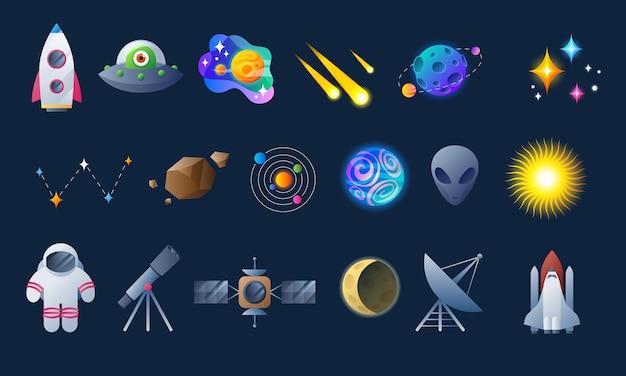 Kleurrijke ruimte en astronomiepictogrammen Premium Vector