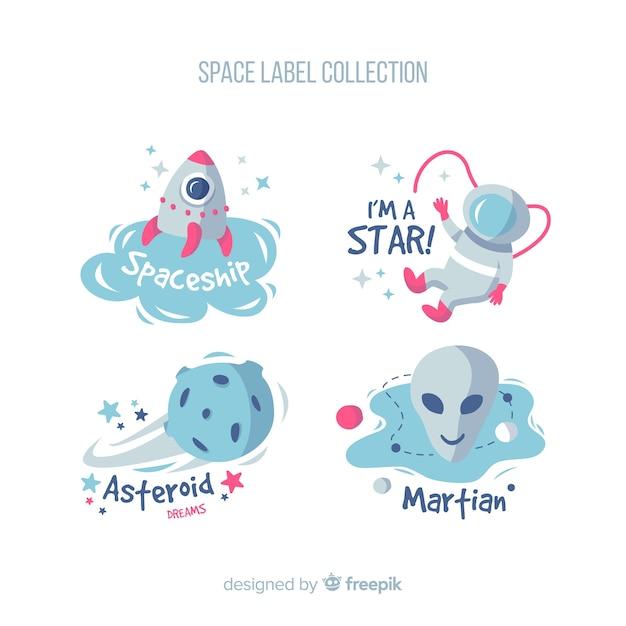 Kleurrijke ruimtebadgeinzameling met vlak ontwerp Gratis Vector