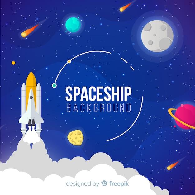 Kleurrijke ruimteschipachtergrond met vlakke deisgn Gratis Vector