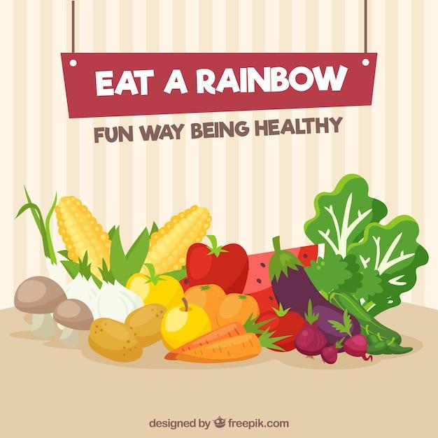 Kleurrijke samenstelling met gezond voedsel Gratis Vector