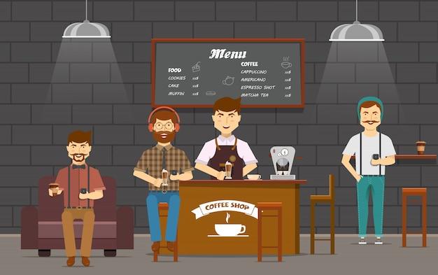 Kleurrijke samenstelling met vrienden hipsters platte stripfiguren in coffeeshop chatten op smartphones gadgets Gratis Vector