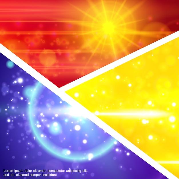 Kleurrijke samenstelling van lichteffecten met sprankelend zonlicht glitter flitslens flare-effecten in realistische stijl Gratis Vector