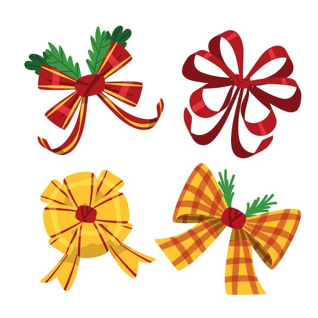 Kleurrijke schattige kerstlinten en strikken Gratis Vector