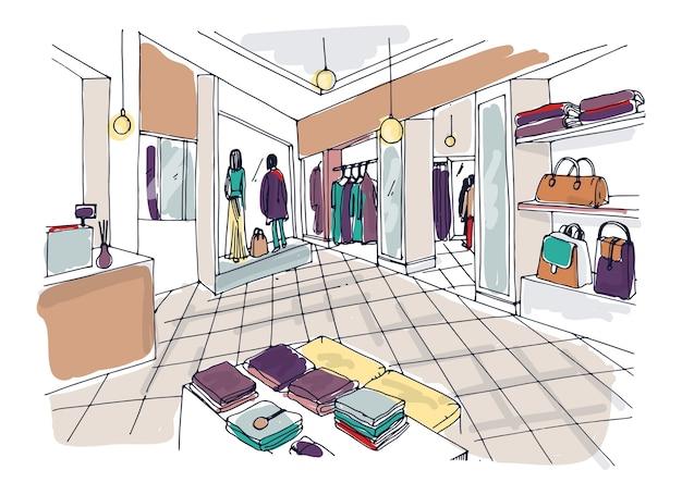 Kleurrijke schets van mode showroom of winkel, trendy kledingwinkel of kledingboetiek interieur met planken, toonbank, mannequins gekleed in modieuze kleding Premium Vector