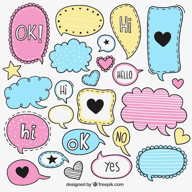 Kleurrijke schetsmatig speech bubbles Gratis Vector