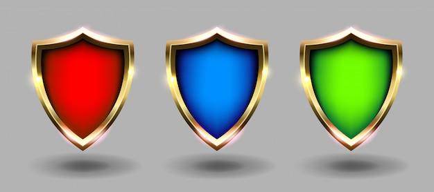 Kleurrijke schilden geplaatst banner, grijze achtergrond. rode, blauwe en groene wapens realistische illustraties. beveiliging en bescherming Premium Vector