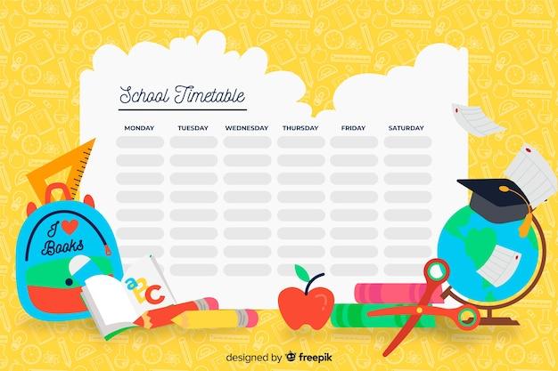 Kleurrijke school tijdschema sjabloon plat ontwerp Gratis Vector