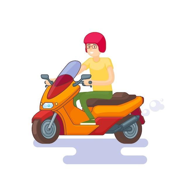 Kleurrijke scooter flat concept Gratis Vector