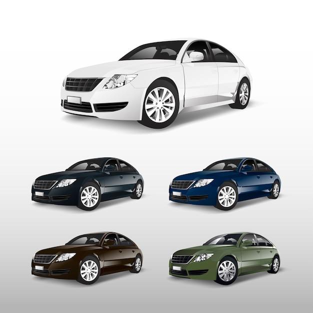 Kleurrijke sedanauto's die op witte vector worden geïsoleerd Gratis Vector