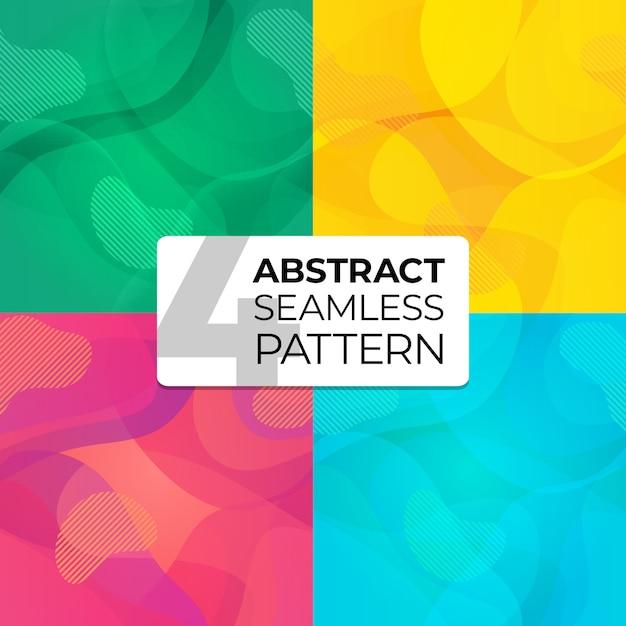 Kleurrijke set abstracte naadloze patronen voor site achtergrond, briefkaart, behang, textiel, kleding. naadloze achtergrond. illustratie met abstracte golven. Premium Vector