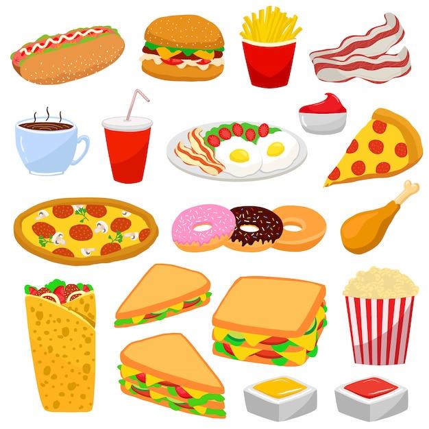 Kleurrijke set met fast food Premium Vector