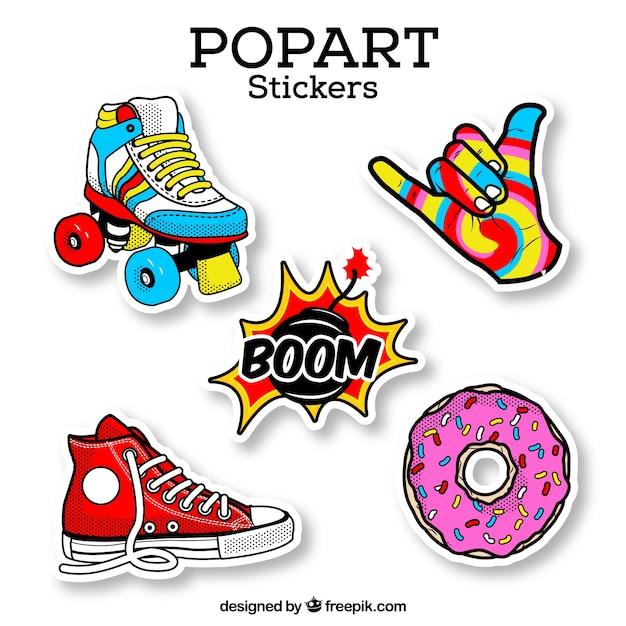 Kleurrijke set retro stickers Gratis Vector