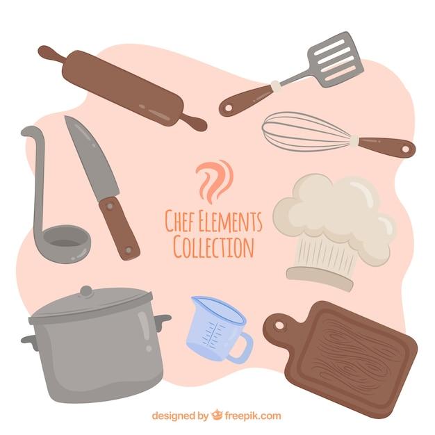 Kleurrijke set van chef-kok elementen met vlak ontwerp Gratis Vector