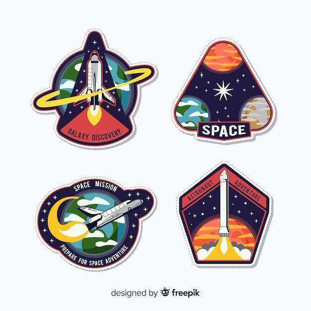 Kleurrijke set van moderne ruimtestickers Gratis Vector