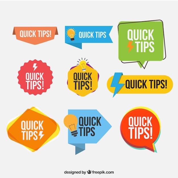Kleurrijke set van tip etiketten met platte ontwerp Gratis Vector